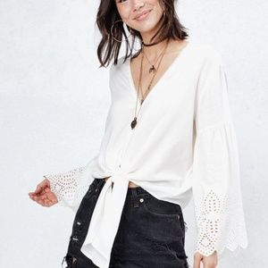 NWT Love Stitch White Eyelet Bell Sleeve Bell Top